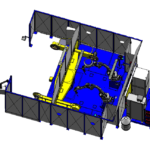 Cellule 2 robots (L3000 - D1200 - 1000KG) ACG Automatismes